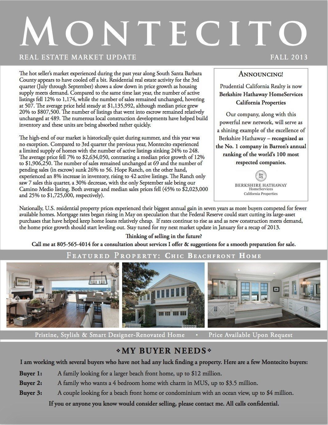 Third Quarter - Fall 2013 Market Update   Montecito & Santa Barbara