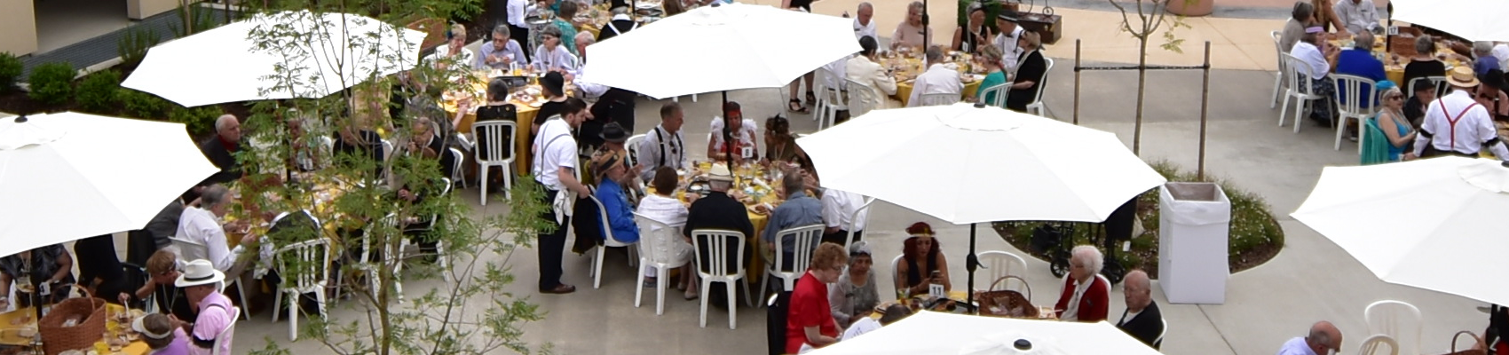 Group of people dining outdoors