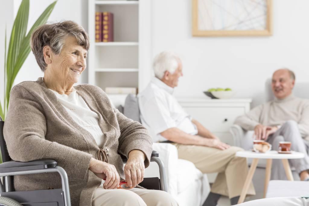 Senior woman sitting in a wheelchair