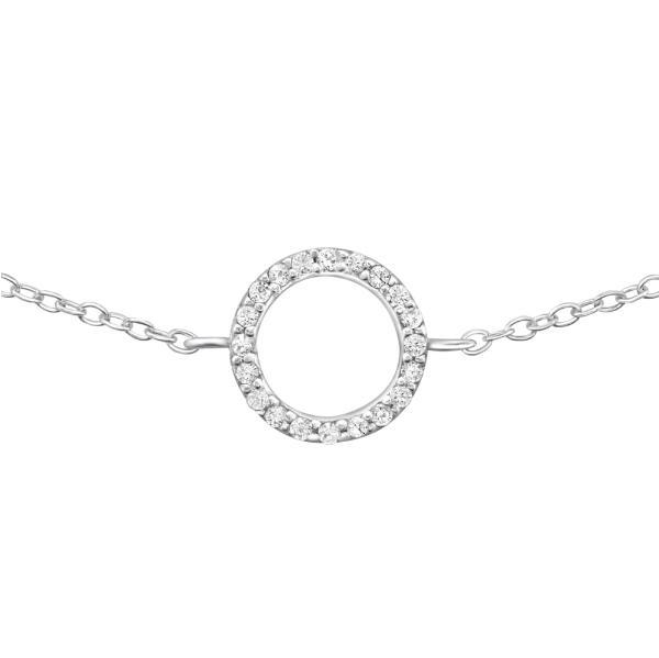 Stříbrný náramek Circle s bílými krystaly