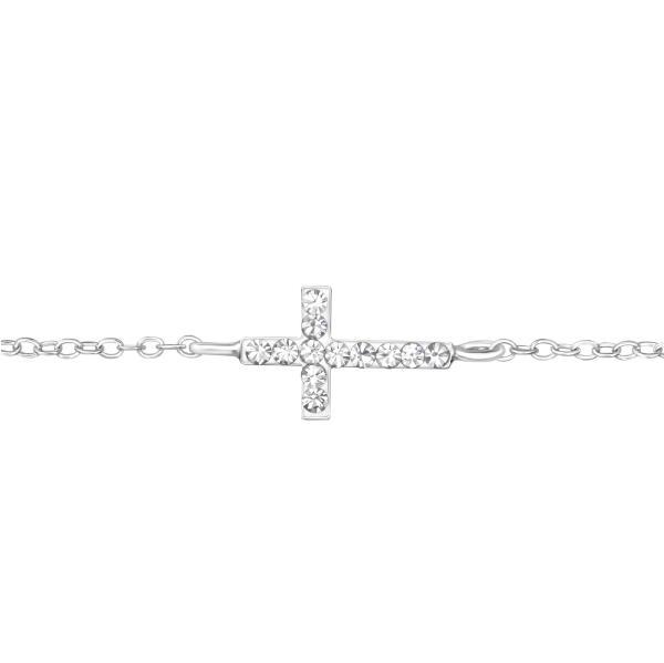 Stříbrný náramek Kříž s krystaly