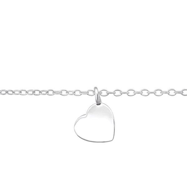 Stříbrný náramek - Srdce