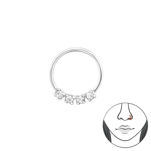 Piercing - stříbrný s krystaly