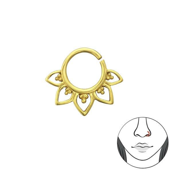 Piercing - stříbrný, se zlatým pokovováním