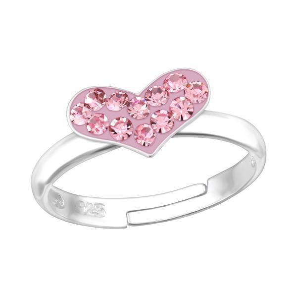 Stříbrný prsten pro děti Srdíčko růžové