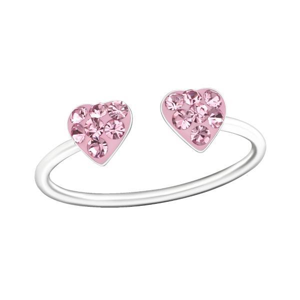 Stříbrný prsten pro děti Dvě srdce