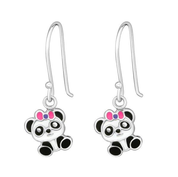 Panda - Stříbrné náušnice pro děti
