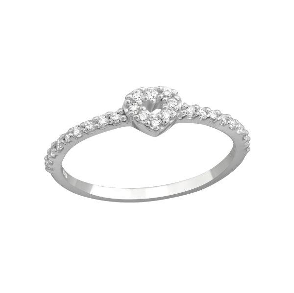 Stříbrný prsten Srdce s krystaly