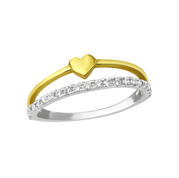 Stříbrný dvojitý prsten Srdce a krystaly