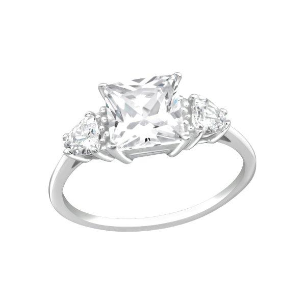 Stříbrný prsten Square krystal