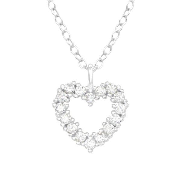 Stříbrný řetízek - Srdce s krystaly
