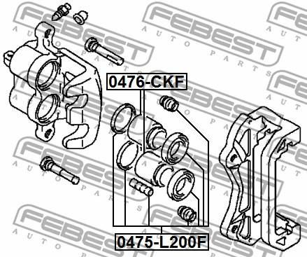 2x FEBEST FRONT BRAKE CALIPER REPAIR KIT 0475-L200F L NEW