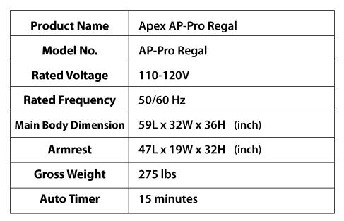 APEX AP-Pro Regal specs