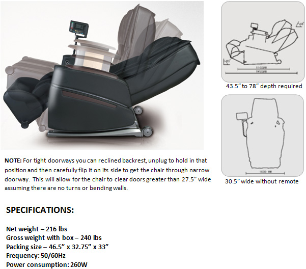 Osaki OS-3D Pro Intelligent Zero Gravity Massage Chair Specifications