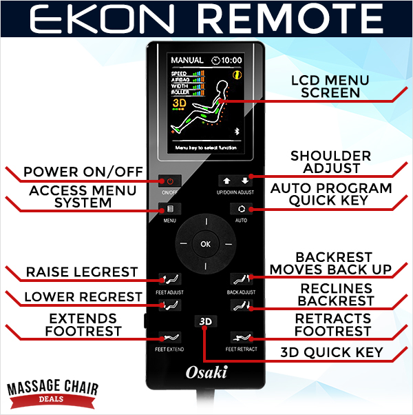 Osaki OS-Pro Ekon Massage Chair Remote Control