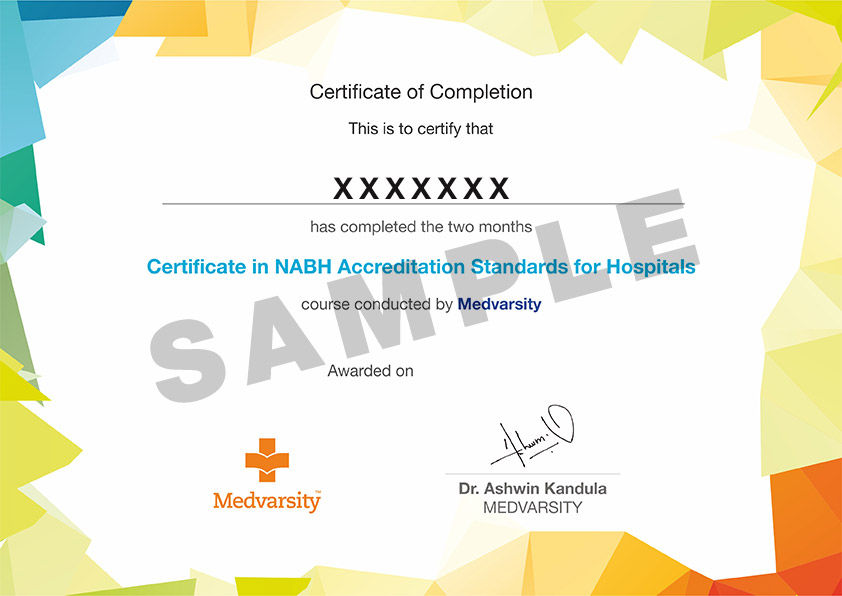 Certificate course on NABH Accreditation Standards for Hospitals
