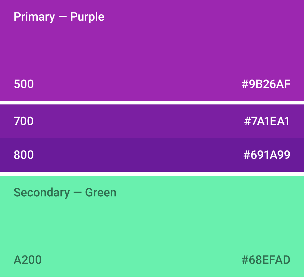 Web safe colors list - Material Design S Color System
