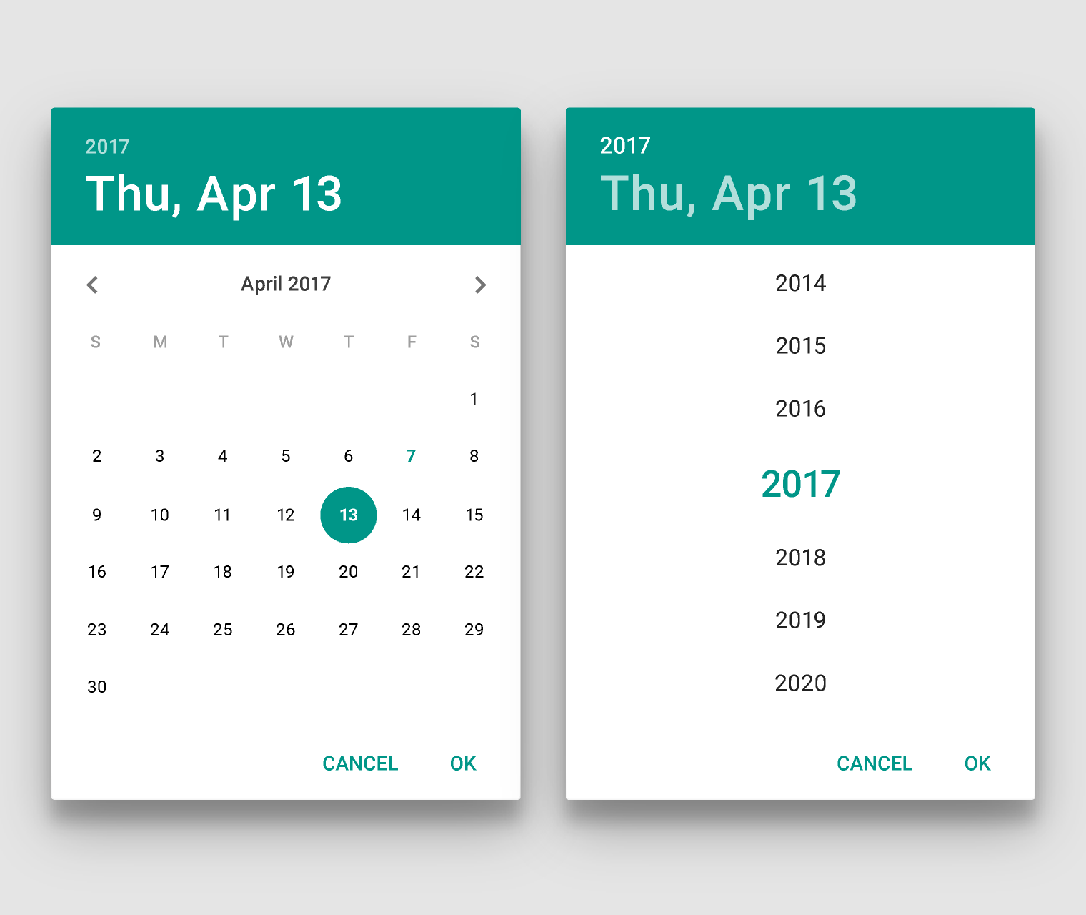 Calendar Material Design Javascript : Pickers components material design