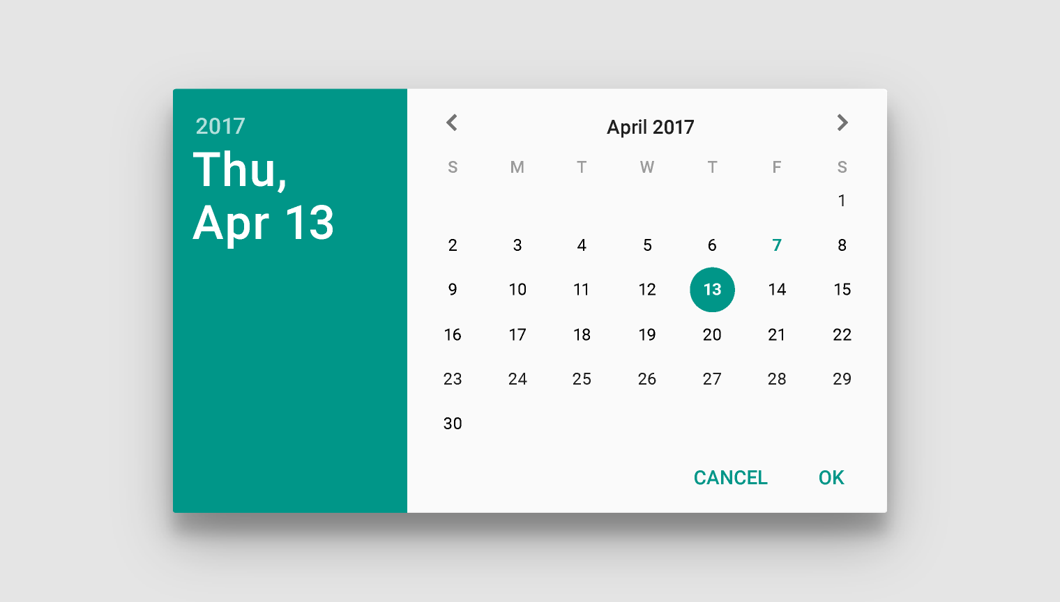 Calendar Design Html : Pickers components material design