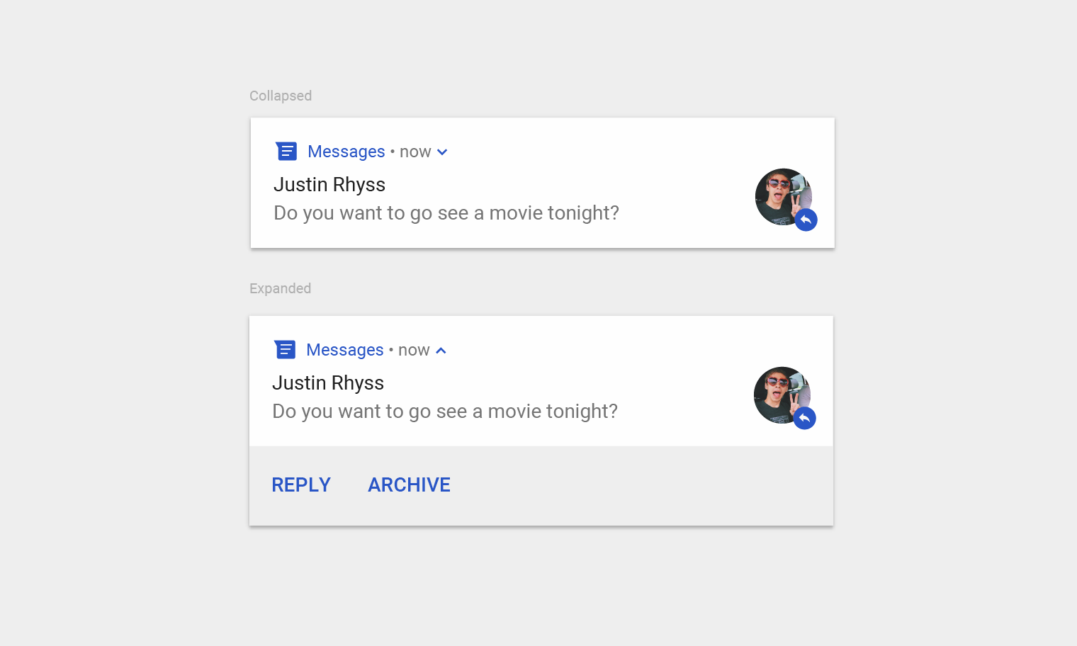 Notifications patterns material design collapsed and expanded views of a notification buycottarizona