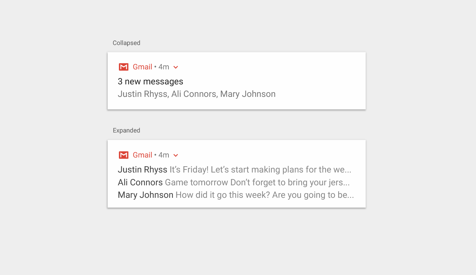 Notifications patterns material design multiple notifications summarized shown in both collapsed view and expanded view gamestrikefo Image collections