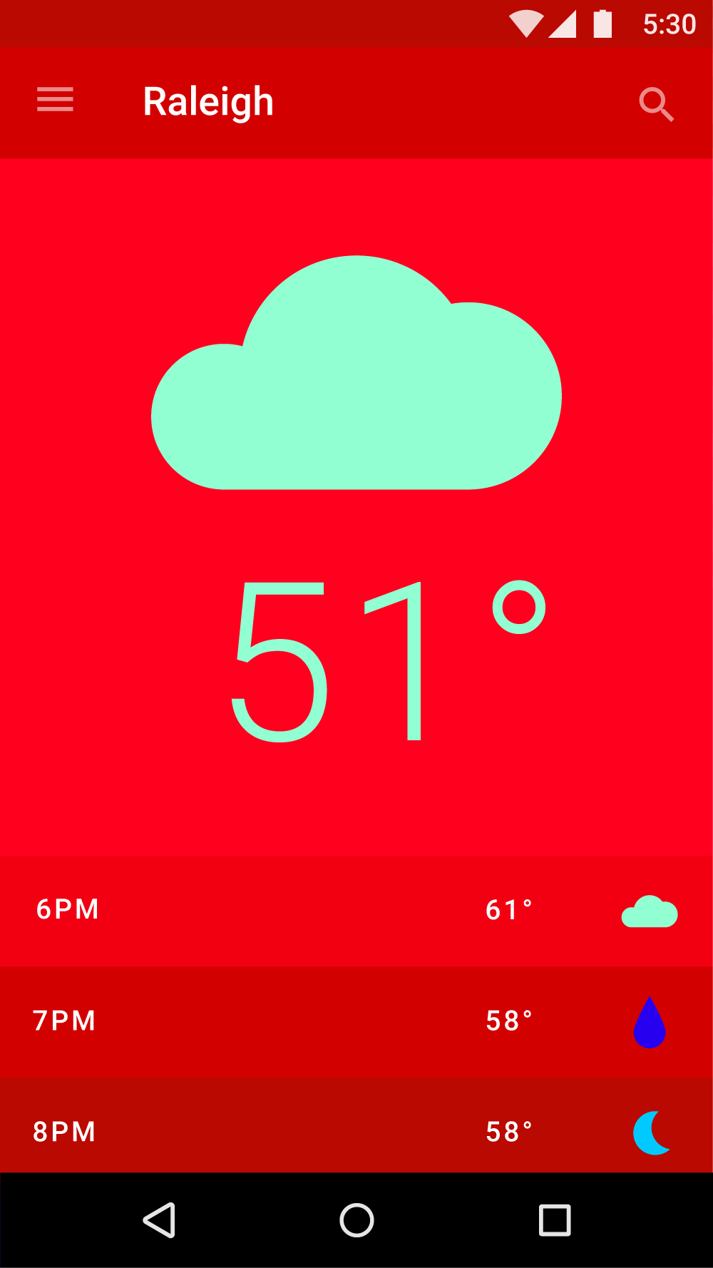 In This UI Red Signifies The Time Of Day And Green Represents Foggy Weather
