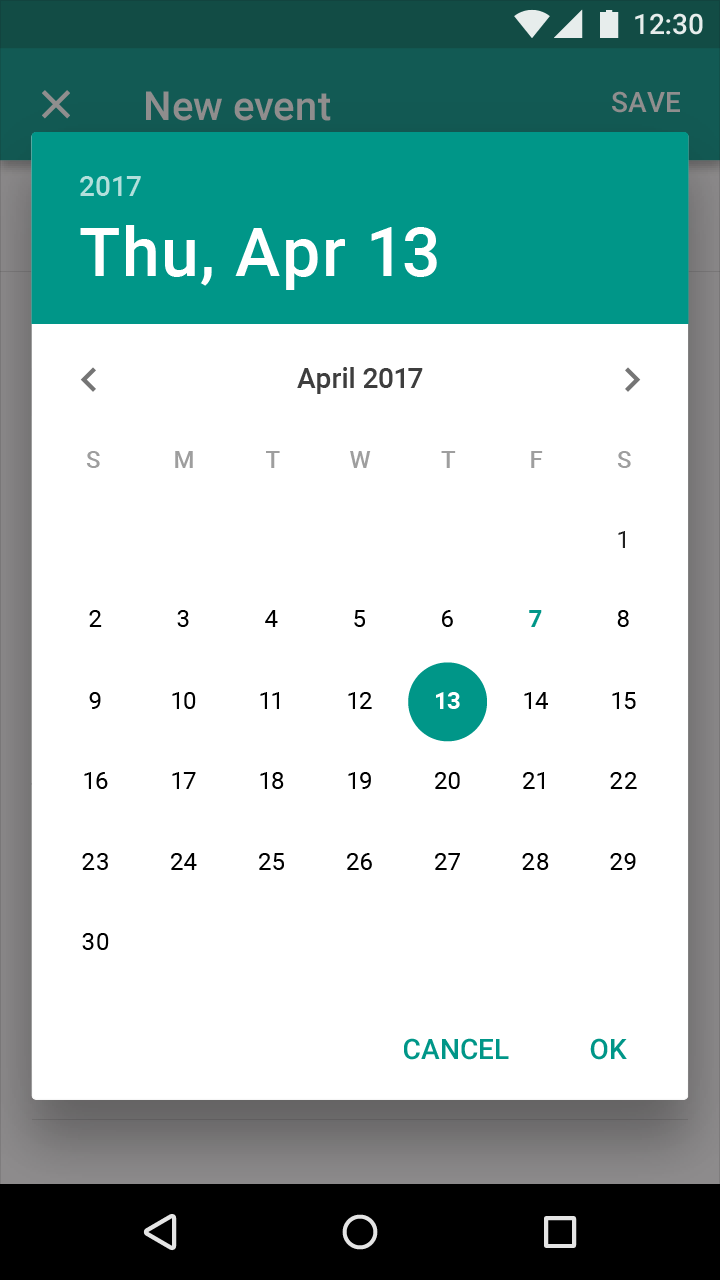 date picker opened from fullscreen dialog