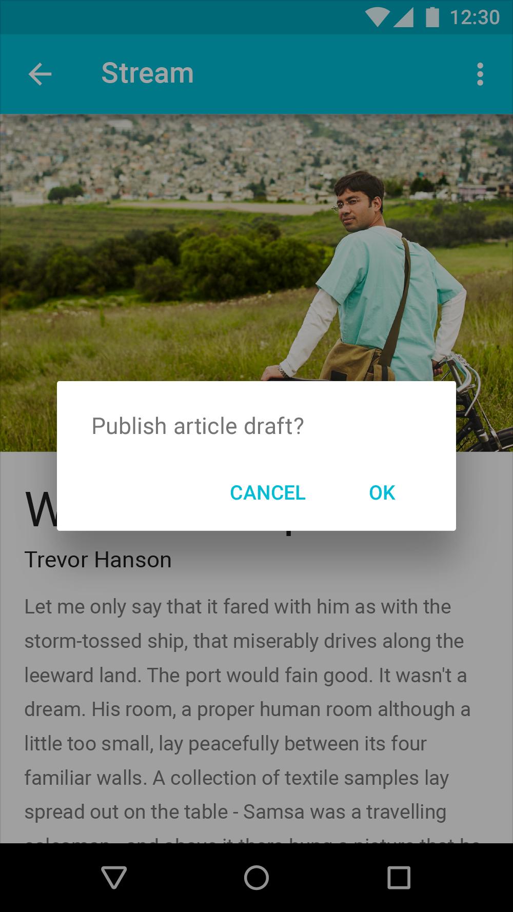 Example of a standard platform dialog