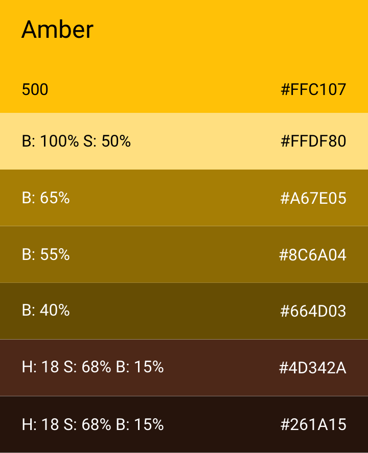 CSS For Font Color. Advanced CSS with gradients for named color Amber (hex code #FFBF00) and its related colors.