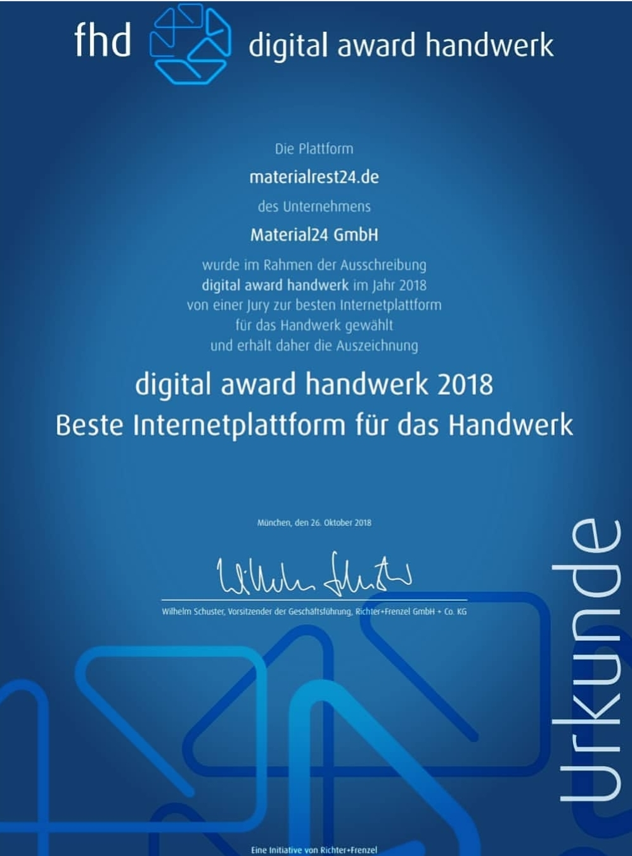 Urkunde Digital Award Handwerk Materialrest24