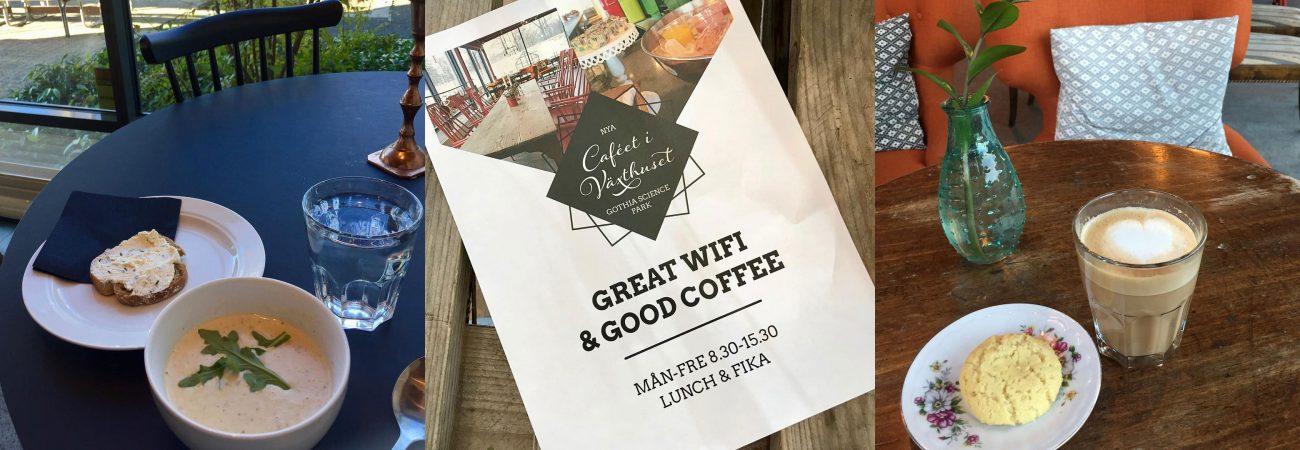 Bilder från Caféet i Växthuset – Soppa, en poster och finkaffe med kaka