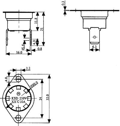 Termostato universal fixo NC 160ºC - terminais verticais