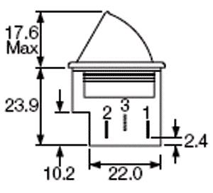 Botão de pressão monoestável tipo frigorífico cinzento ON-(ON) 250VAC 5A - Arcolectric E3111CAGYGY