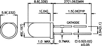 LED 5mm vermelho 12VDC 12-30mcd 60º