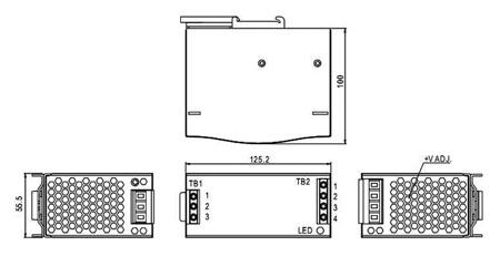 Fonte de alimentação para calha DIN M36 12VDC 6.3A 76W - Mean Well DR-75-12