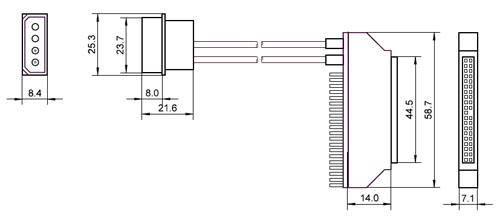 Ficha adaptadora de HDD 2.5