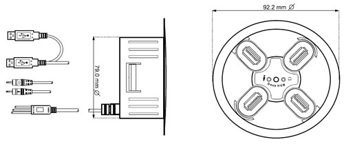 Hub USB + áudio para embutir - 4x USB - Ø80mm