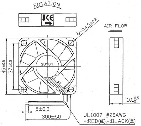 Ventoinha 45x45x10mm 12VDC 0.105A 1.26W vapo - Sunon MB45101V2-000U-A99