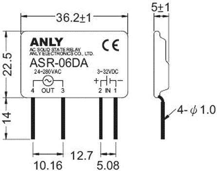 Relé de estado sólido 3..32VDC 5A (4 pinos) para chassis - Anly ASR-05DA
