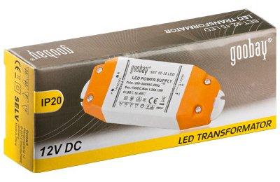Transformador electrónico para LEDs 12V 0.5-15W - Goobay SET 12-15 LED Slim
