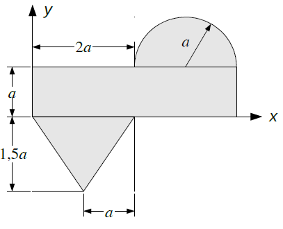 Eine aus Halbkreis, Dreieck und Rechteck zusammengesetzte Fläche.