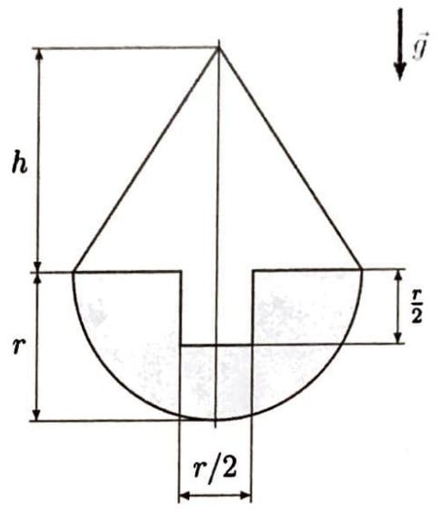 Ein Stehaufmännchen besteht aus einem geraden Kreiskegel mit einem Zylinderzapfen und einer Halbkugel, die auf den Zapfen auf- gesteckt ist.
