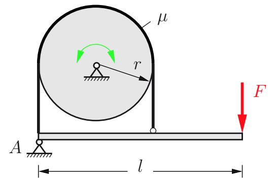Durch die Bandbremse soll auf eine sich drehende Welle das Bremsmoment M ausgeübt werden.