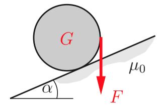 Die Walze vom Gewicht G soll auf der unter dem Winkel alpha geneigten Ebene ruhen.
