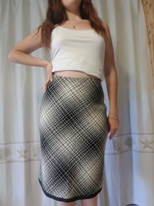 Jupe laine petits carreaux noir et blanc