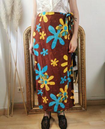 Sublime jupe porte feuille à fleurs vintage T 40/42