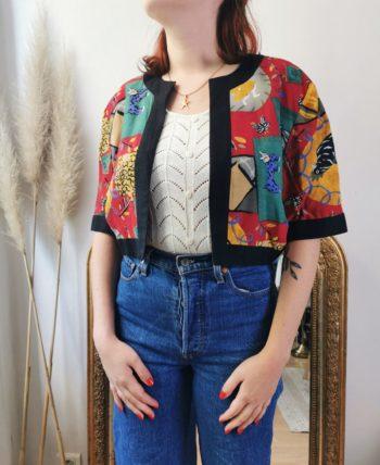 Sublime bolero multicolores à motifs vintage T 38