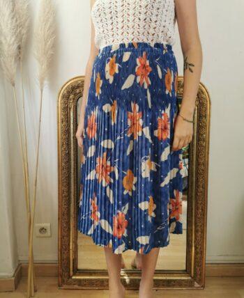 Très jolie jupe plissée taille haute motif lys vintage 38/40