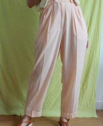 Pantalon couleur pêche taille haute T.38