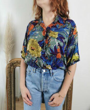 Magnifique chemise à fleurs vintage